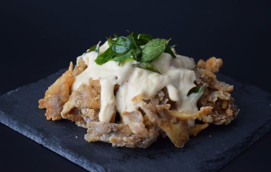 Fried Maitake with Malaysian Butter Sauce